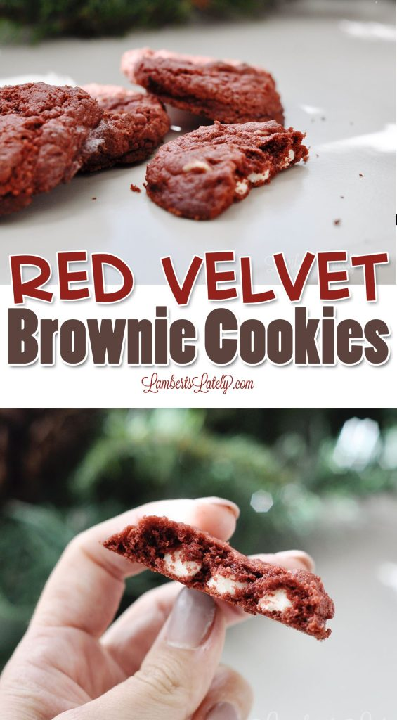 Red Velvet Brownie Cookies use cake mix and only 4 total ingredients to make a gooey, rich, fudgey cookie from simple supplies. This easy recipe is just as good as from scratch!
