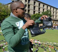 """""""These are vintage, from the 90s,"""" joked Vuyisani Kuboni, All faculty council chairperson. Photo: Lameez Omarjee"""