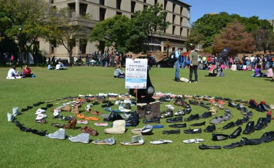 Up to 200 pairs of shoes were collected at today's event, according to Wayne Mahlanga, part of the Wits CCO organisational team. Photo: Lameez Omarjee