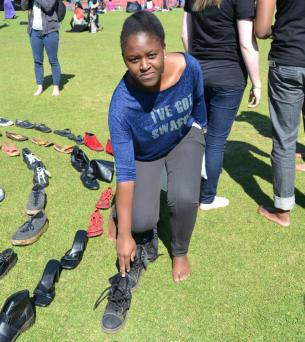 Pamela choga, 3rd year LLB, donated the shoes she wore when she first met her boyfriend. Photo: Lameez Omarjee