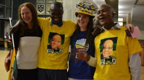 FRENEMIES?: Behind the scenes, ANC and DA supporters posed for photos, together! Photo: Lameez Omarjee