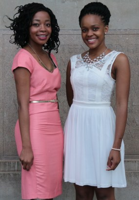 SMART GIRLS: Actuaries, Kelebogile Setlatjile and Nomalungelo Biyeal dropped the numbers for the night. Photo: Lameez Omarjee