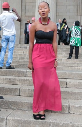 Grecian: Lerato Chaka had a modern twist to her Grecian get-up. Photo: Lameez Omarjee