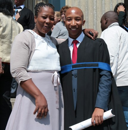 PROUD MUM: Wits graduate Vincent Hlatshwayo and his mum are all smiles. Photo: Lameez Omarjee
