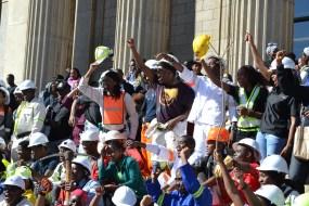 AMANDLA: Witsies show their allegiance during an address. Photo: Lameez Omarjee