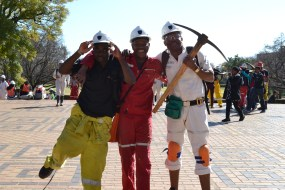 AXED: Witsies tried to reenact mining culture with tools. Photo: Lameez Omarjee