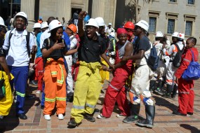 DANCE DANCE: Wits mining engineering students sang struggle songs in solidarity with miners. Photo: Lameez Omarjee