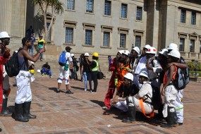 POSES: Wits mining engineers made the best of their photo opportunities. Photo: Lameez Omarjee