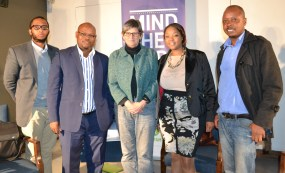 PANEL: Speakers from left Ayabonga Cawe, Sibongiseni Mathe, Jane Barret and Takura Fundira discussed whether a national minimum wage would be enough to create equality in South African society at the Origins Centre on July 22. Photo: Lameez Omarjee