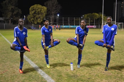 BALANCED EFFECT: Stretching before their game against Midrand Graduate Institute, the Wits Women's soccer team failed to qualify for the USSA national championships. Photo: Lameez Omarjee