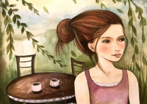 ragazza sola e due tazzine di caffè