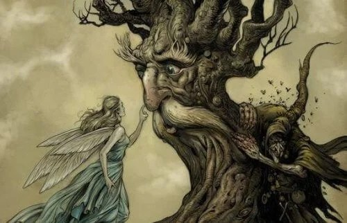 fata e albero con volto