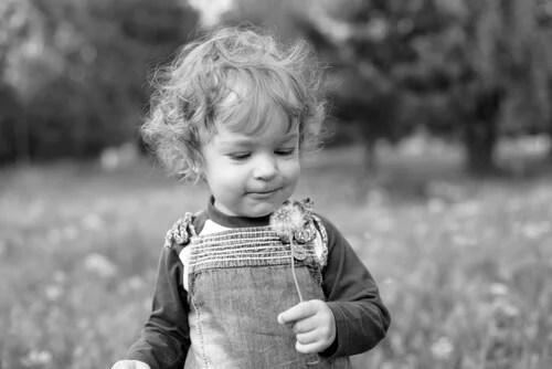 Niño con diente de león simbolizando el pensamiento divergente en los niños