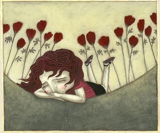 Chica triste tumbada