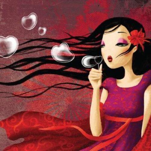 Mujer con burbujas de corazón
