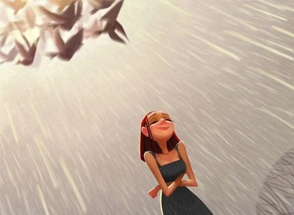 chica en actitud positiva bajo la lluvia