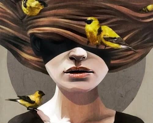 Mujer con los ojos tapados simbolizando lo que no dices