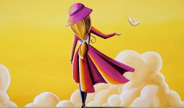 Chica con abrigo rojo