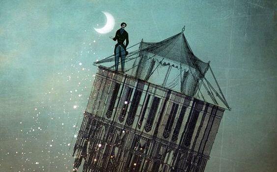 edificio sobrevolando la luna