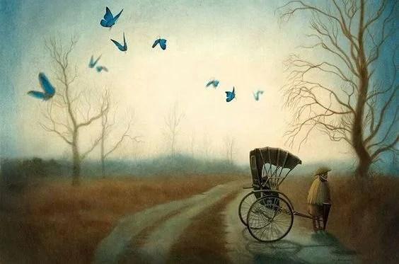 camino con mariposas