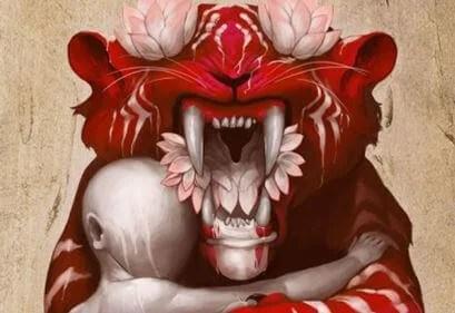Tigre rojo con persona