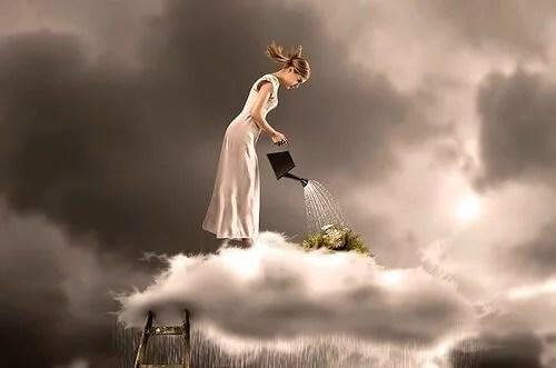 mujer nube