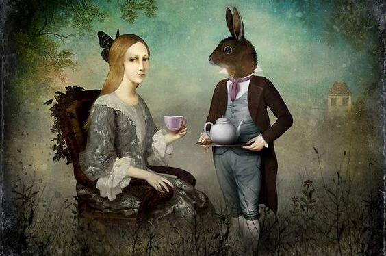 mujer con conejo fantasia
