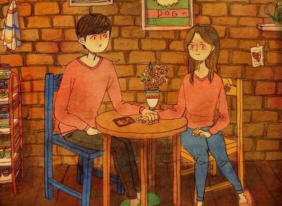 pareja de la mano que emoieza a hablar