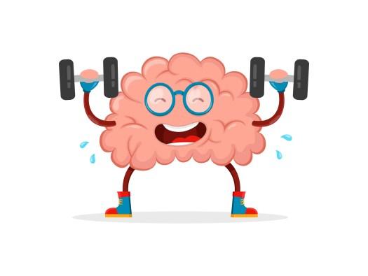 Cerebro haciendo gimnasia como ejemplo de mitos del cerebro