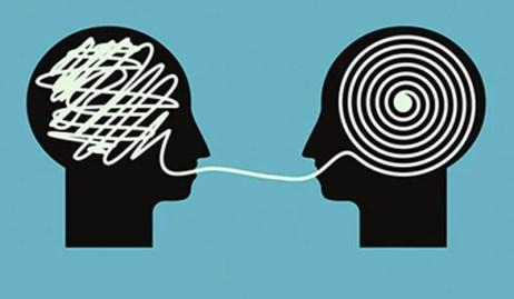 Rostros conectados por hilos representando a las personas que hablan rápido