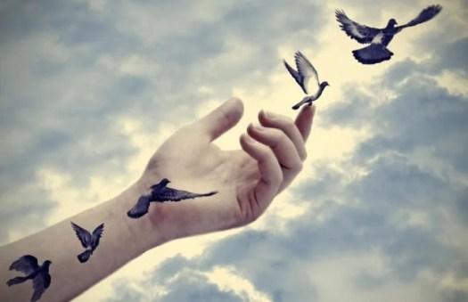brazo donde avanzan pájaros simbolizando frases de duelo