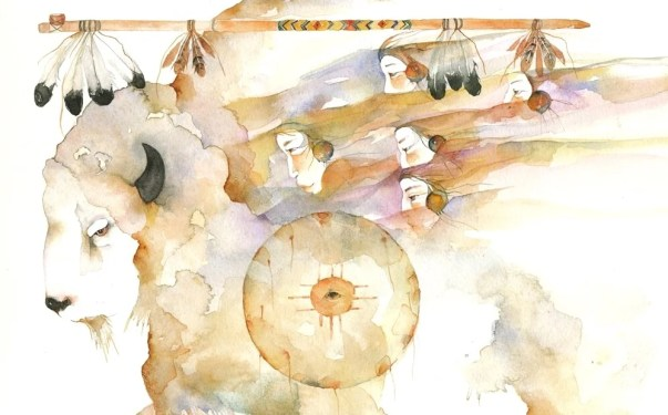 ilustración representando a la mujer del búfalo blanco