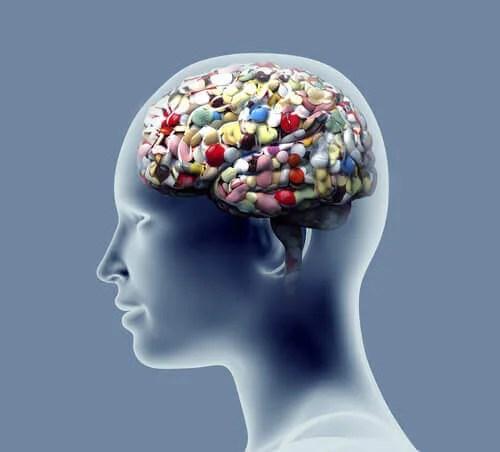 Cerveau d'une personne pleine de médicaments