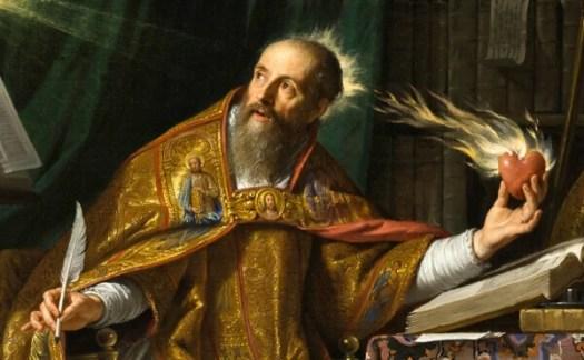 San Agustín sujetando un corazón en llamas