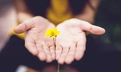 Mano con flores representando cuando las cosas van mal