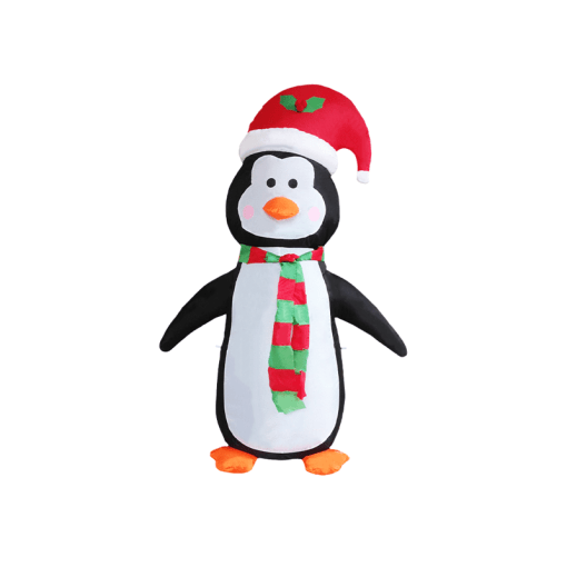 Inflable Navideño Pinguino C/ Gorro Luz Led