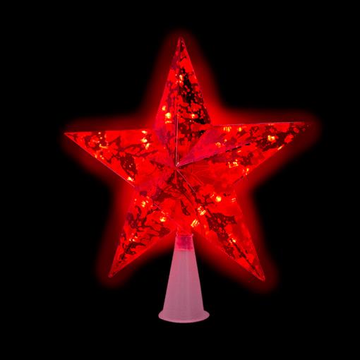 Estrella Punta De Arbol Navideño Luz Led Roja