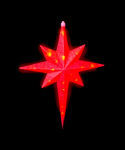 Estrella Luz Led Belén Roja Colgable 46 cm
