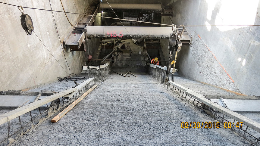 Prep work for escalator installation at Expo/Crenshaw Station.