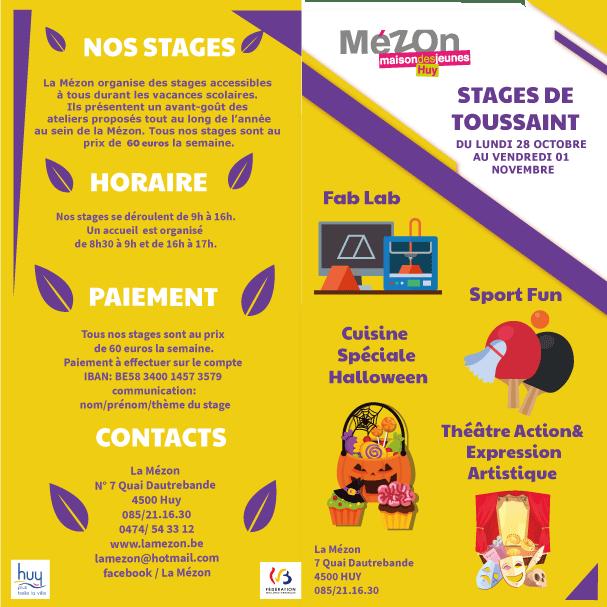 Les stages de Toussaint à La Mézon! Du 28 Octobre au 1er Novembre