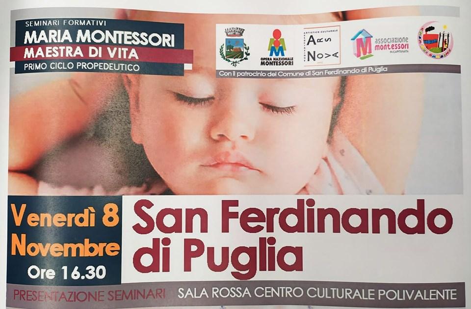 Maria Montessori Maestra di Vita: cinque seminari a San Ferdinando di Puglia (BT)