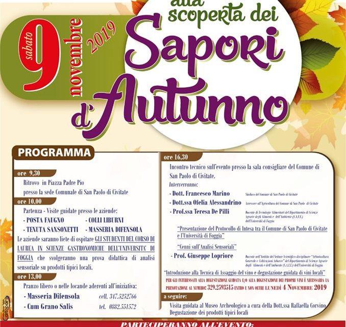 """""""Alla Scoperta dei Sapori d' Autunno"""": il 9 Novembre a San Paolo di Civitate (Fg)"""
