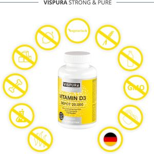 Vispura Strong And Pure - Vitamina D3 ad alto dosaggio 20000 UI