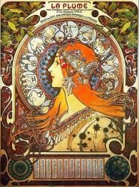 "Alfons Mucha, ""La plume, zodiac"""