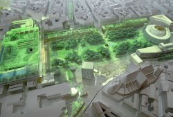Photo prise le 07 avril 2004, lors d'une présentation à la presse, de la maquette du projet de réaménagement des Halles par l'architecte Jean Nouvel, qui figure parmi les quatre projets à l'étude par la ville de Paris pour la rénovation de ce quartier au coeur de la capitale. AFP PHOTO PIERRE ANDRIEU