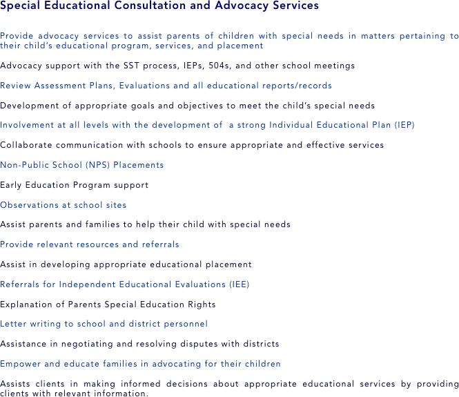 Educational Consultation and Advocacy Services