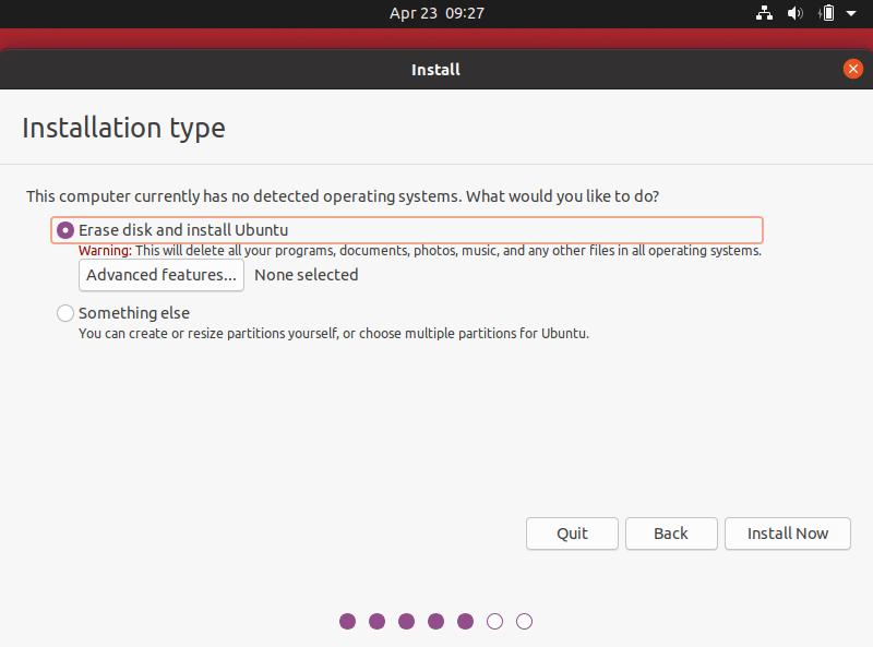 Menentukan jenis partisi untuk ubuntu 20.04