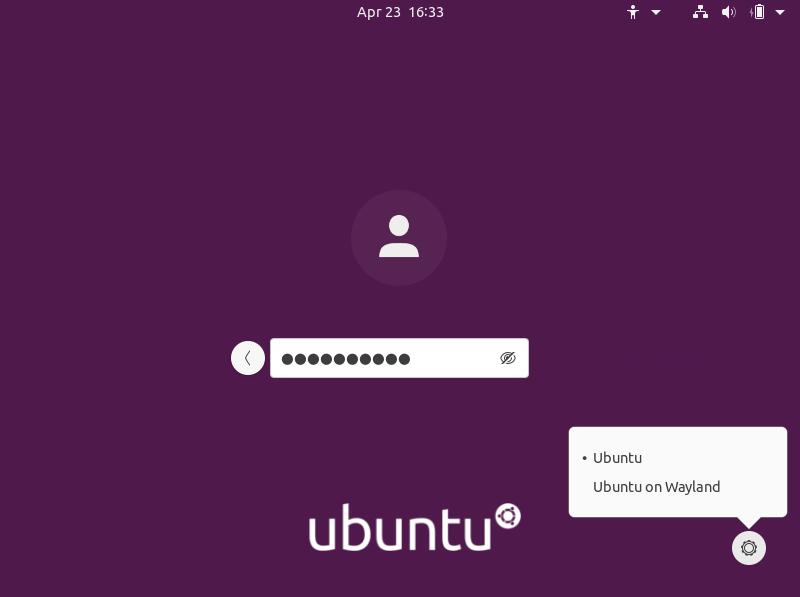 Tampilan login ubuntu 20.04 dekstop