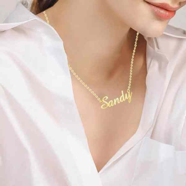 sandy style name necklace personalized 18k gold plated sterling silver