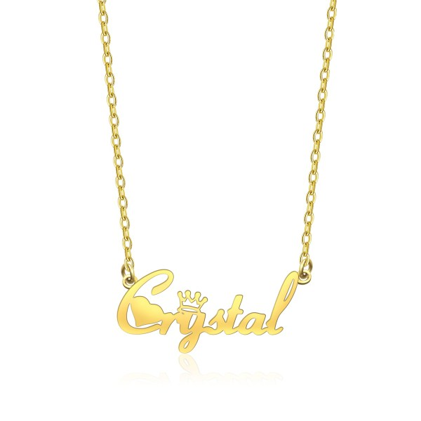 Crystal Style Name Necklace 18K Gold Plated Copper